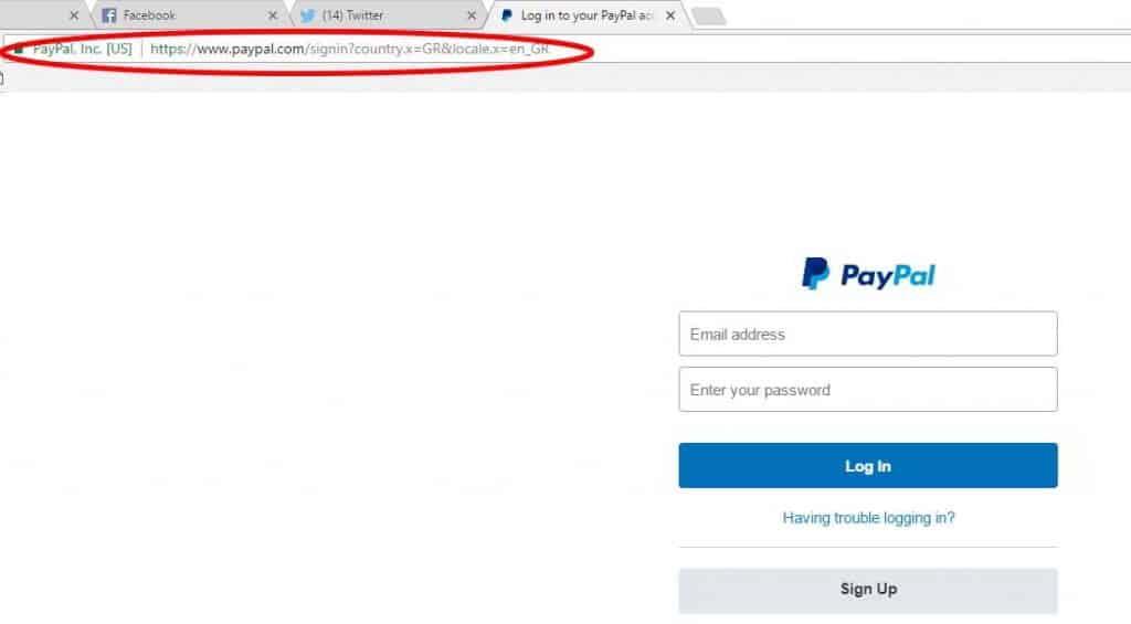 paypal legimate login webpage
