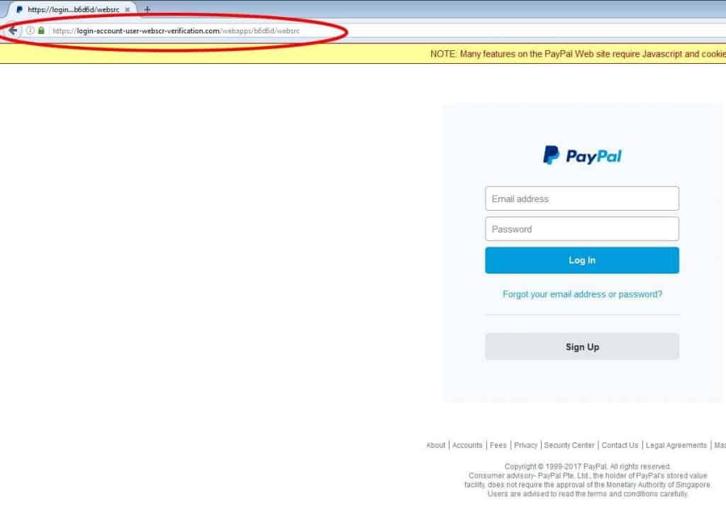 paypal scam login webpage