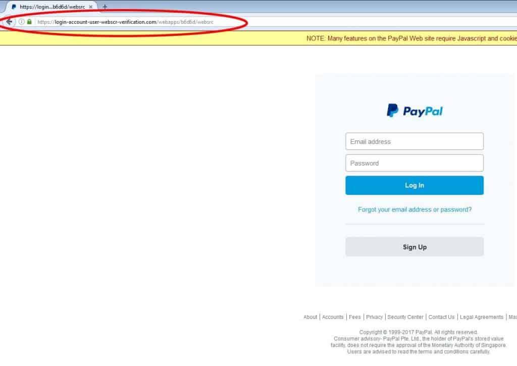 paypal scam login webpage