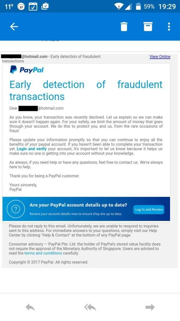 scam e-mail pretending to be from paypal